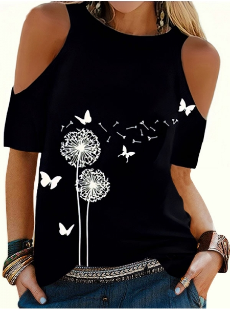 Dresswel Women Dandelion Butterfly Pattern Love Mama Letter Printed Crew Neck Cold Shoulder T-Shirts Tops