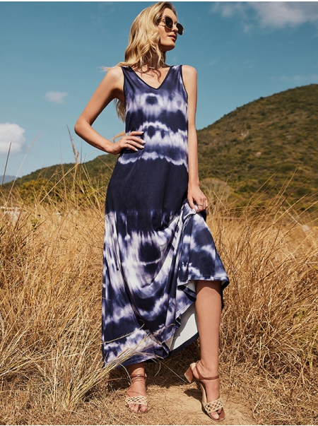Dresswel Women Tie Dye Printed Color V Neck Sleeveless Loose Fashion Backless Maxi Dress