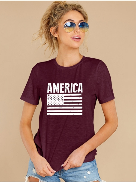 Dresswel Women America Letter Tee Shirt American Flag Independence Day T-shirt Tops