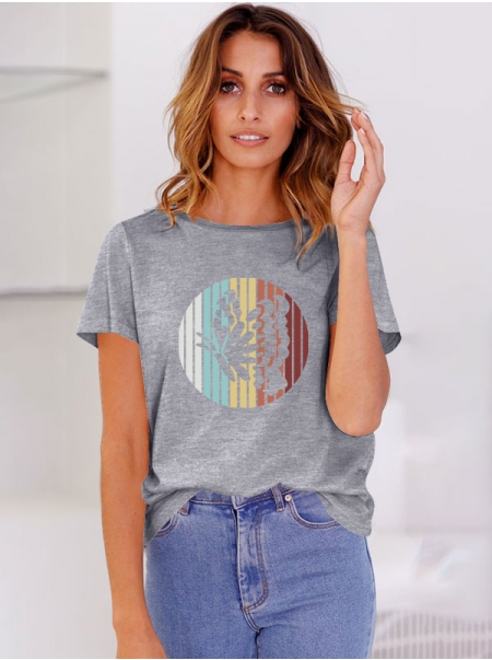 Dresswel Women Multicolor Butterfly Pattern Printed Round Neck T-Shirts Tops
