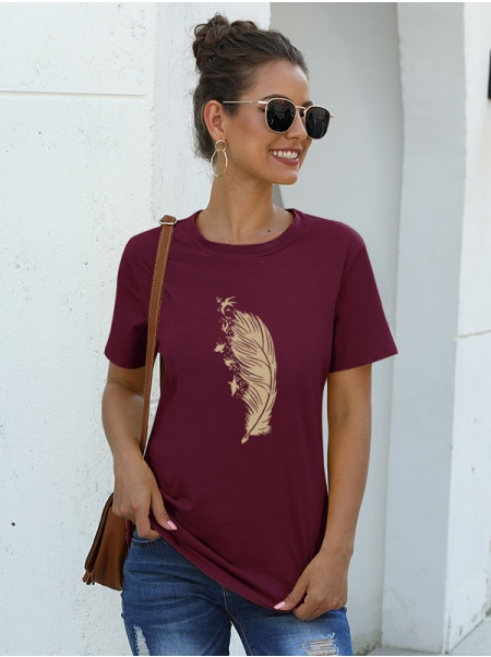 Dresswel Women Feather Pattern Printed Round Neck Soft Short Sleeve Relaxed Fashion T-Shirts Tops