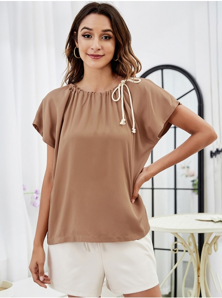 Dresswel Women Flared Short Sleeve Pleated Crew Srawstring Collar Blouse Tops