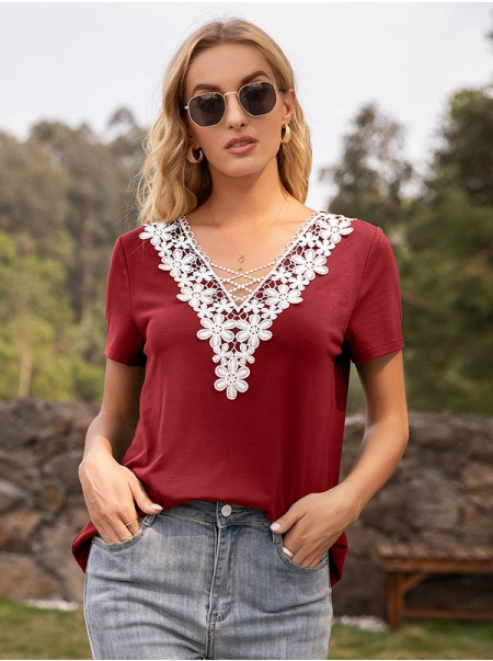 Dresswel Women Lace Spliced V Neck Short Sleeve Simple Casual Stylish T-Shirts Tops