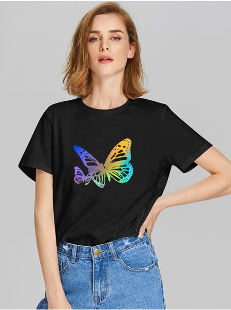 Dresswel Women Colored Butterfly Print Short Sleeve Round Neck Fashion T-shirt Tops