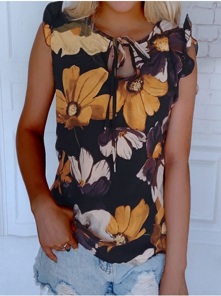 Dresswel Women Floral Printed Hollow Out Tie Neck Ruffle Cuff Cap Sleeve Blouse Tops