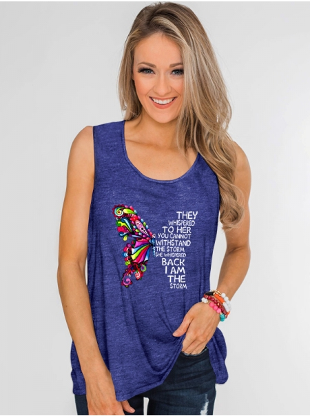 Dresswel Women Vest with Colored Butterfly and Letter Printed Sleeveless Tank Top