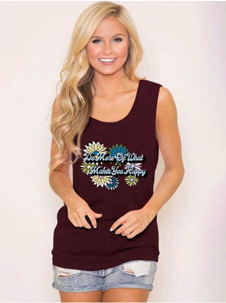 Dresswel Women Do More Of What Makes You Happy Letter Flower Printed Fashion Tank Tops
