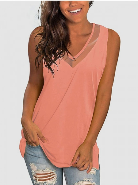 Dresswel Women Summer Solid Color Sleeveless Mesh Splicing Hollow Out Tank Top