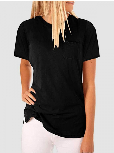 Dresswel Women Short Sleeve Solid Color Pocket Crew Neck Simple Fashion T-Shirts Tops