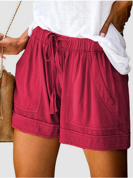 Dresswel Women High Waist Elastic Lace-up Solid Color Wide-leg Pants Shorts with Pockets