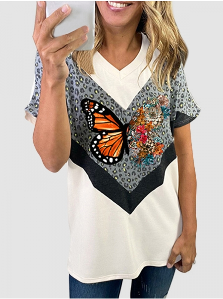 Dresswel Women Leopard Print Tee Color Block Butterfly Floral Graphic T-shirts Tops