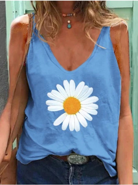 Dresswel Women Summer Sleeveless Solid Colorful Daisy Graphic Print T-Shirt Tops