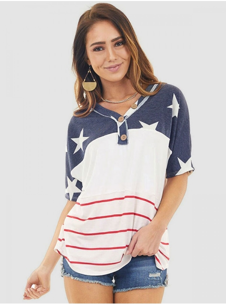 Dresswel Women Stars Stripe Colorblock V Neck Short Sleeve Buttons Casual T-Shirt Tops