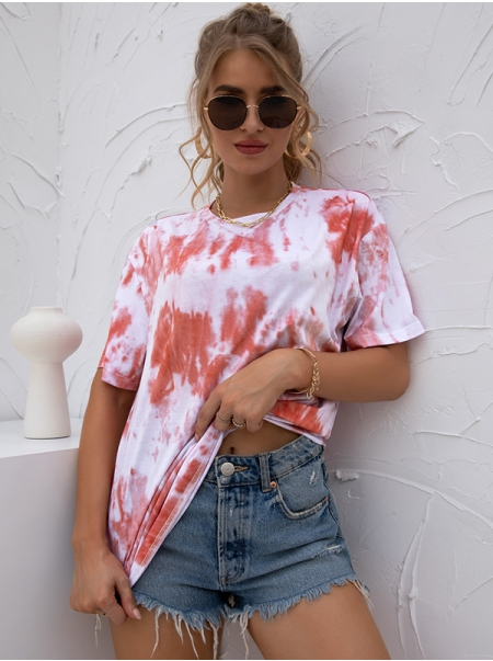 Dresswel Women Summer Tie-Dyed Loose Fit Short Sleeve Round Neck T-Shirt Tops