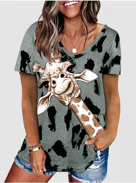 Dresswel Women Giraffe Leopard Printed V Neck Short Sleeve Loose Soft T-Shirt Tops