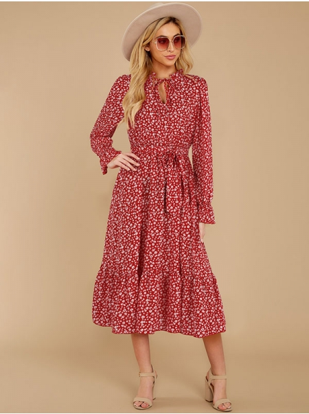Dresswel Women Floral Printed Long Sleeve Fashion Tie V Neck Casual Relaxed Midi Dress