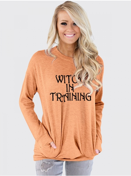 Dresswel Women Witch In Training Letter Print Pocket Round Neck Long Sleeve T-shirt Top