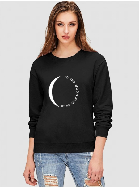 Dresswel Women To the Moon And Back Letter and Circle Graphic Design Sweatshirt Top
