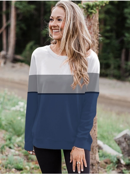 Dresswel Women 3D Printed Colorblock Round Neck Long Sleeve Relaxed Sweatshirts Top