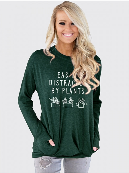 Dresswel Women Easily Distracted by Plants Letter Graphic Print Pocket Sweatshirt