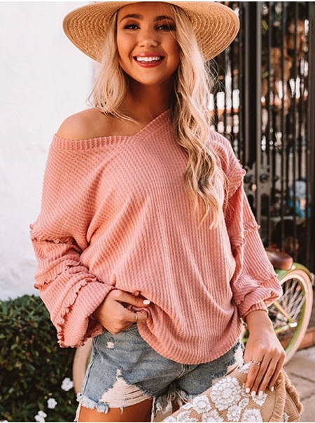Dresswel Women Solid Color Ruffled Lantern Long Sleeve V Neck Casual Blouse Top