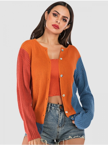 Dresswl Women Contrasting Color Double-Sided Knit Button Loose Fit Attractive Sweater