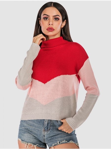 Dresswel Women Knit Color Contrast Stitching High Collar Long Sleeve Attractive Sweater
