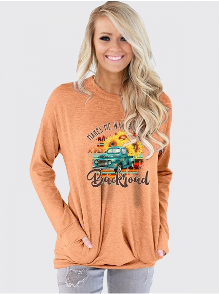 Dresswel Women Makes Me Wanna Take A Backroad Printed Crew Neck T-Shirt Tops