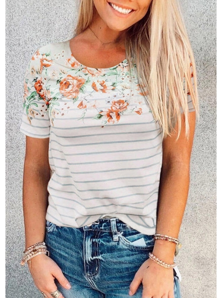 Dresswel Floral Striped Splicing T-Shirt Tee