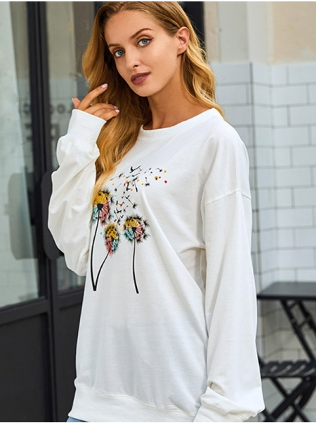 Dresswel Women Round Neck Long Sleeve Dandelion Colorful Print Pullover Sweatshirt Tops