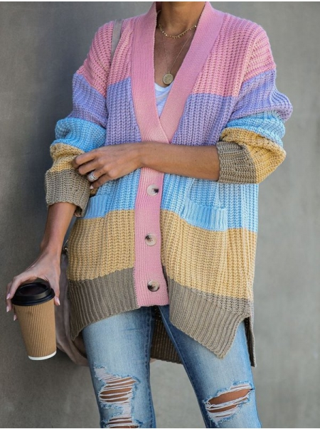 Dresswel Women Multicolor Round Neck Knitted Long Sleeve Color-Block Outerwear