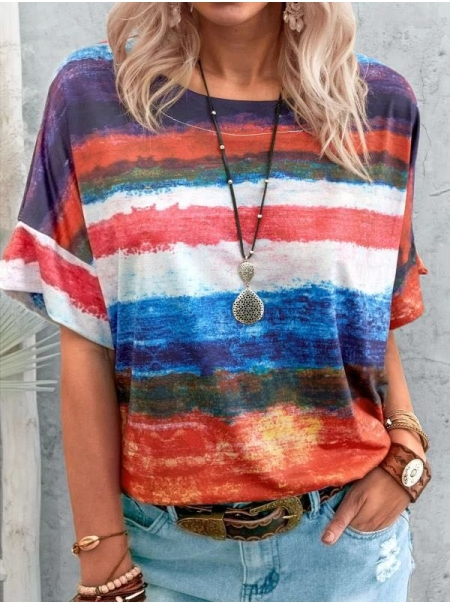 Dresswel Tie-dye Gradient Colorful Stripe Round Neck Loose Casual T-shirt
