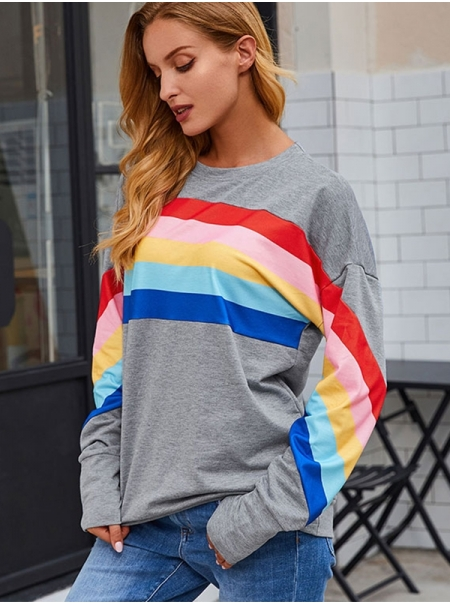 Dresswel Women Rainbow Striped Spliced Pullover Tops Colorful Sweatshirts Tops
