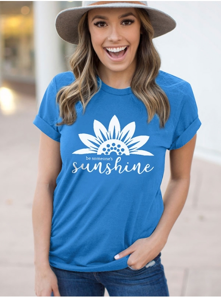 Dresswel Women Be Someone`s Sunshine Sunflower Print Tees Crew Neck Casual T-Shirts Tops