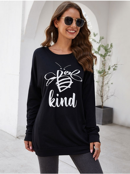 Dresswel Women Bee Kind Letter Bee Graphic Long Sleeve Shirts Tops