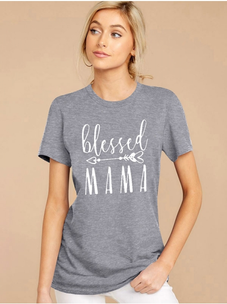 Dresswel Women Blessed Mama Letter Print Round Neck Cuffed Short Sleeves Solid Color T-shirt Tops