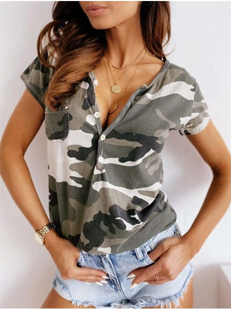 Dresswel Women Camouflage Printed Buttons V Neck Short Sleeve T-Shirts Tops
