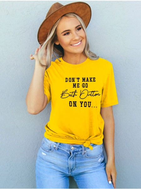 Dresswel Women DON'T MAKE ME GO Letter Printed Simple Casual Crew Neck T-Shirts Tops