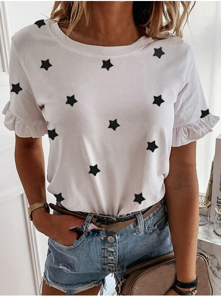 Dresswel Women Five-Pointed Star Printed Crew Neck Ruffled Short Sleeve Casual T-Shirts Tops