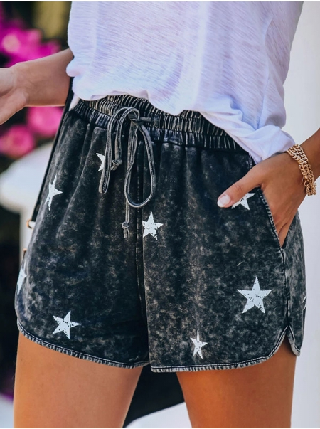 Dresswel Women Five-Pointed Stars Printed Elastic Waistband Casual Shorts