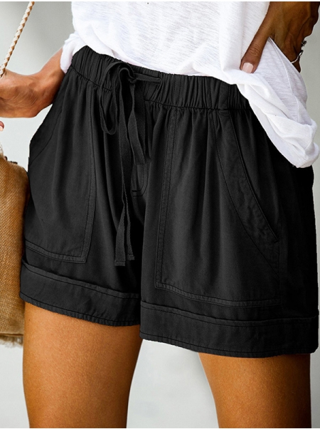 Dresswel Women High Waist Elastic Lace-up Solid Color Wide-leg Pants with Pockets Shorts