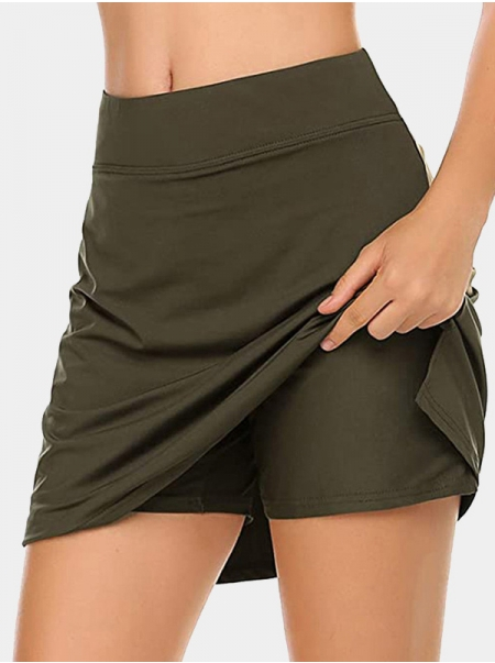 Dresswel Women High Waist Solid Color A-line Shorts Stitching Casual Slim Fit Shorts Skirt