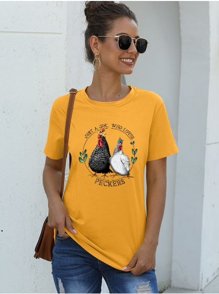 Dresswel Women Just A Girl Who Loves Peckers Chicken Graphic Funny Gift T-Shirts Tops