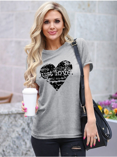Dresswel Women Just Love Letter Heart Graphic Print Valentine's Day  T-Shirts Tops