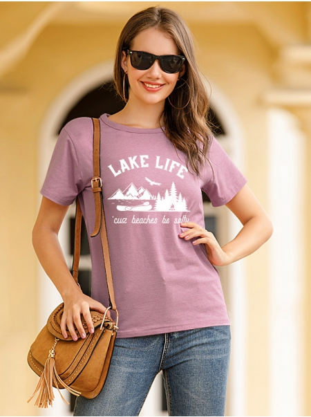 Dresswel Women LAKE LIFE Letter Graphic Printed Crew Neck Casual T-Shirts Tops