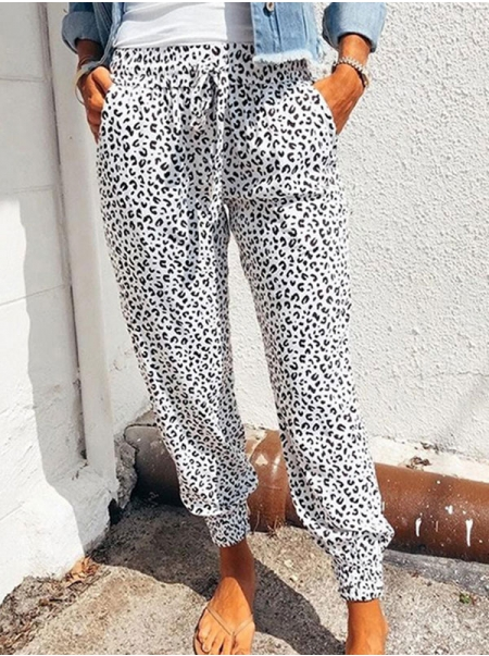 Dresswel Women Leopard Printed Lace-up Harem Pants with Pockets