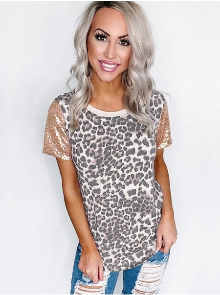 Dresswel Women Leopard Sequin Short Sleeve Patchwork Fashion Blouse Tops