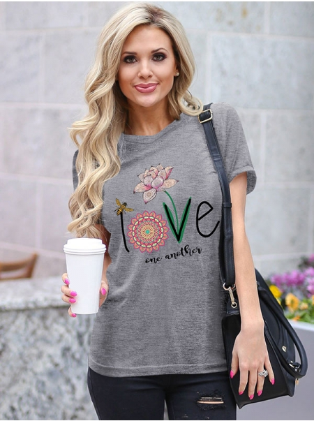 Dresswel Women Love One Another Floral Printing T-shirt Top