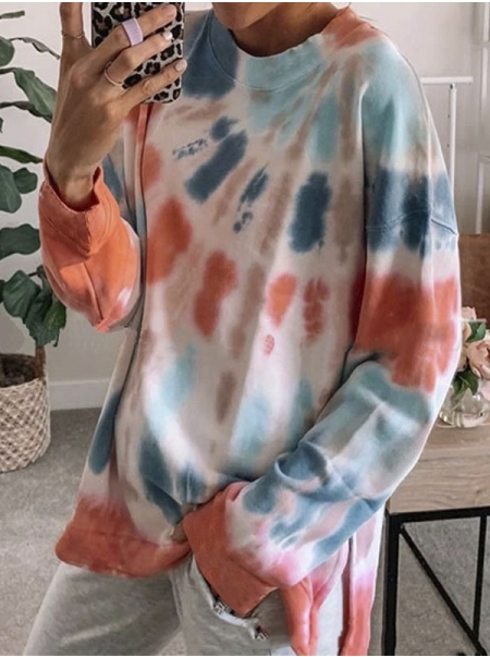 Dresswel Women Pullover Tie Dye Printed Color Block Relaxed Fit Sweatshirts Tops