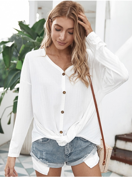 Dresswel Women Solid Color Long Sleeve V Neck Blouse Buttons Cardigan Tops